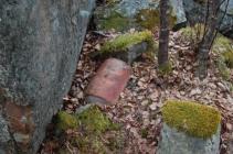 Teglstein fra det originale bygget.